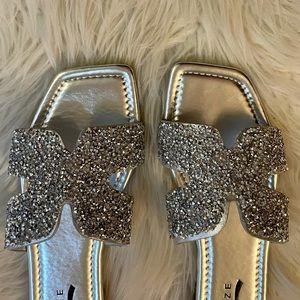 Trendy Square Toe Silver Sparkle Sandals